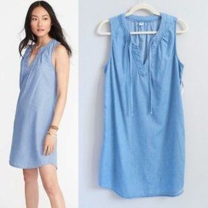 Old navy sleeveless blue denim chambray dress L